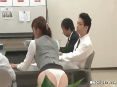 Shy Japanese girl showing...